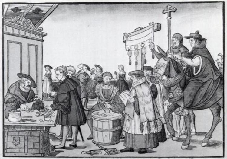 A venda de indulgências, pintura de Augsburg, cerca de 1530.