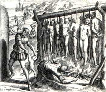 Ilustração de Theodore de Bry para a obra de Frei Bartolomeu de Las Casas (século XVI). Esse monge dominicano denunciou à monarquia espanhola as barbaridades cometidas pelos espanhóis contra os índios. Pouco ou nada adiantou.